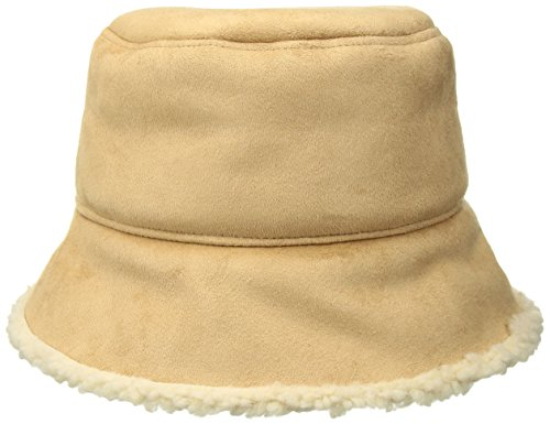Nine West Women's Faux Sherling Bucket Hat, Pecan, One (Shearling Bucket Hat)