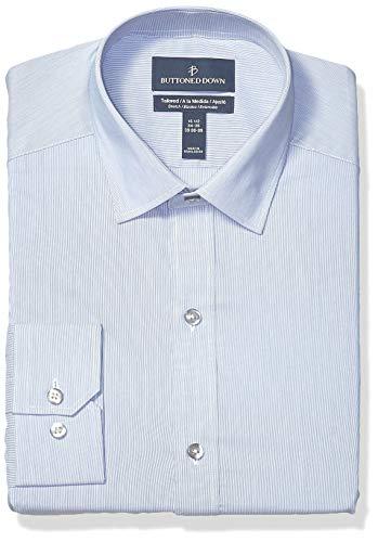 BUTTONED DOWN Men's Tailored Fit Tech Stretch CoolMax Easy Care Dress Shirt, Fine Stripe Blue, 17.5