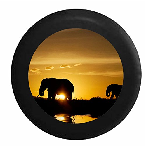 Full Color Silhouette Elephants over the African Sahara Wildlife Jeep RV Camper Spare Tire Cover Black 35 in