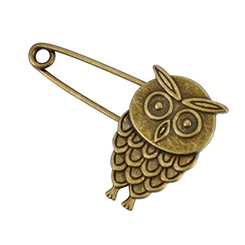 HooAMI 10pcs Bronze Vintage Owl Hijab Pins Brooch Pins Safety Pins 5.3x3.2cm(2-1/8