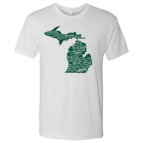 Michigan State Embroidery - AS19 - Michigan State Spartans Fight Song Triblend T-Shirt - X-Large - Heather White