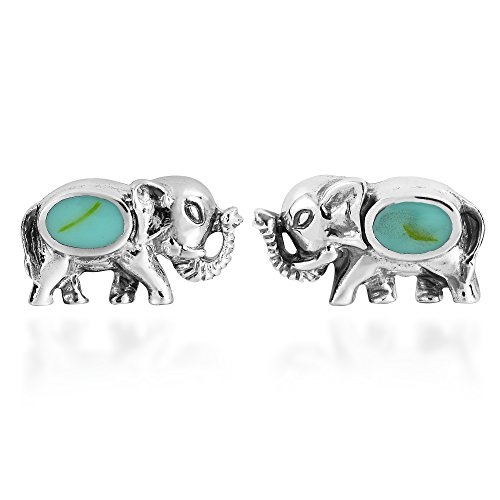 Silver Blue Turquoise Inlay Sterling (Thai Elephant Simulated Turquoise Inlay .925 Sterling Silver Post Earrings)