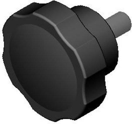 1 Each 5//16-18 thds. 1 3//8 dia. Fluted Black Plastic Knob w//Stainless Steel Stud Stud 1 Lg.