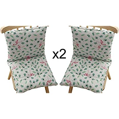 homelovely 2 Sets Outdoor/Indoor Seat/Back Chair Pads Cushion seat Dining Garden Office (Platinum Flamingo) : Industrial & Scientific