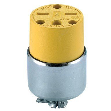 Leviton 615CA 000-000 Straight Blade Armored Connector, 250 V, 15 A, 2 Pole, 3 Wire, PVC, 0.245-0.7 In, - Wire Armored 3 Plug