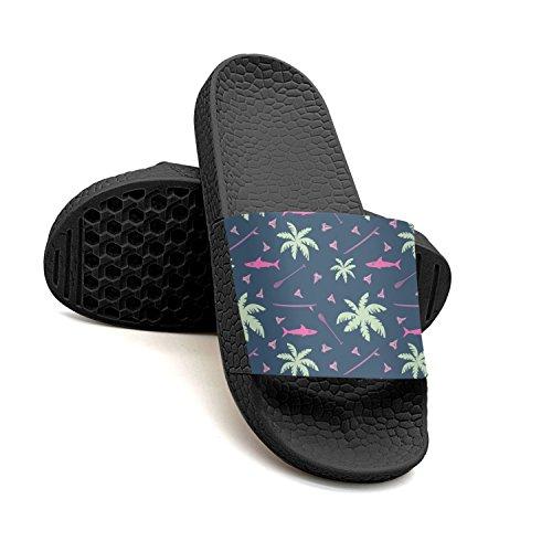 qiopw for Bathroom Non Shoes Seamless Sandal Women's Shower rtw Pattern Slipper Black Indoor Tropical Surfing Slip rOTwr5