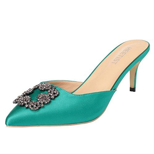 HEETIST Women's Hosphere Satin Slide Sandals with Pointed Toe Kitten Heels Jeweled Slingback Mules Slip On, Green, 8 B(M) ()
