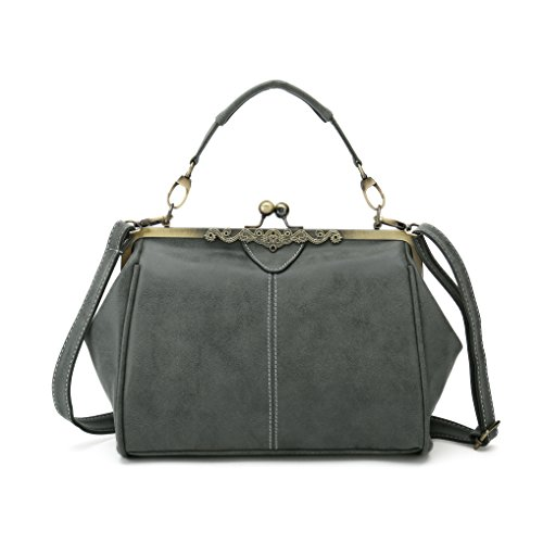 Vintage Handbags Kiss Lock Cross Body Purses Shoulder Messenger Tote Bags for Women PU Leather (Army Green)