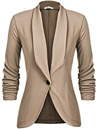 Women's Casual Work Solid Color Knit Blazer New Khaki M