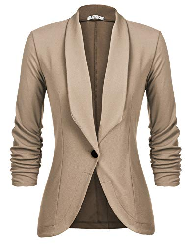 Beyove Women's Petite Stretch 3/4 Sleeves Open Front Blazer New Khaki S