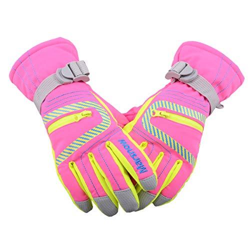 Triwonder Waterproof Ski Snowboard Gloves Thermal Warm Winter Snow Skiing Gloves for Men, Women and Kids (S (6-8 years old), Rose -