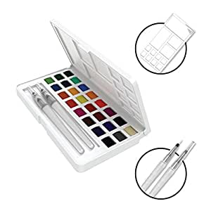 Umiko Watercolor Field Sketch Set - 24 Assorted Watercolors by Artistrove- Travel Case includes 2 Water Brushes & A Mixing Palette, Painting on the Go Has Never Been Easier!
