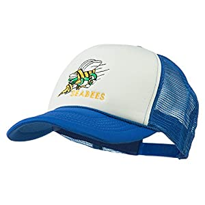 Navy Seabees Symbol Embroidered Mesh Trucker Cap - Royal White