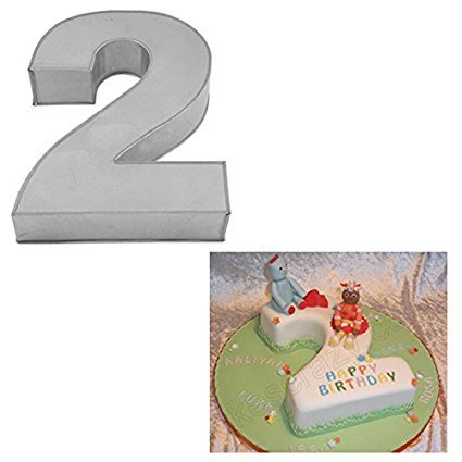 Large Number Two Birthday Wedding Anniversary Cake Tins / Pans / Mould by Falcon 14