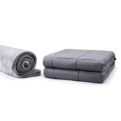 Cheap SleepMan Cotton Weighted Blanket with Glass Beads for Adult Heavy Blanket with Removable Cover Between 180-220 lbs Individual 60 x 80 20LB Grey Set Black Friday & Cyber Monday 2019