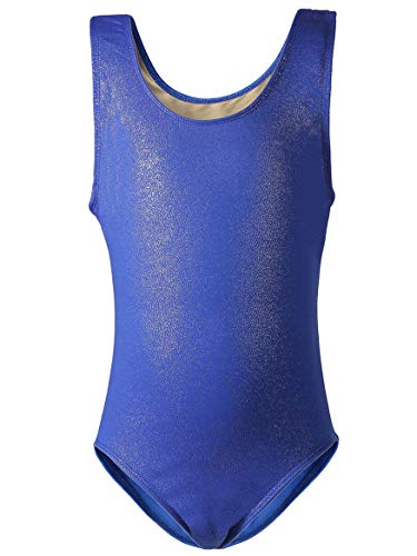 (Dancina Girls Gymnastics Tank Top Leotard Dancewear Sparkle Royal Blue 8)