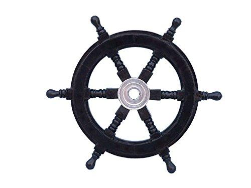 "Hampton Nautical  Deluxe Class Black Wood and Chrome Decorative Pirate Ship Steering Wheel 12"" - ation from Hampton Nautical"