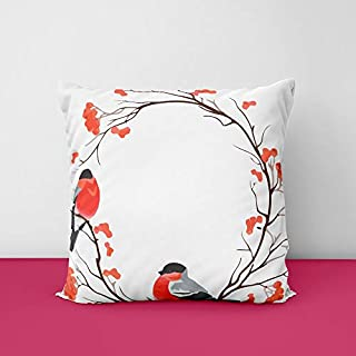 Bird Flower Square Design Printed Cushion Cover