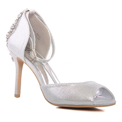 Size Wedding High Evening together ' 8 Mid Carnival Heel Party Unze Sandals Coral' Silver Uk Soiree Women 3 Shoes Get naqPI7