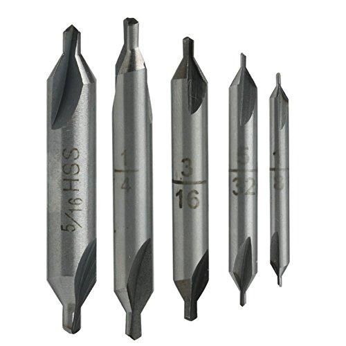 Kangnice 5 Pcs HSS Center 60° Spotting Drill Bits Combined Countersink High Speed Tool (Cobalt Center)