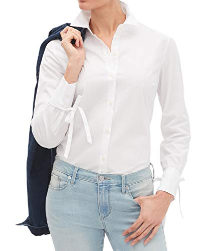 Banana Republic Womens Tailored Fit Tie Sleeve Detail Button Down Shirt Blouse Solid White (US: 8)