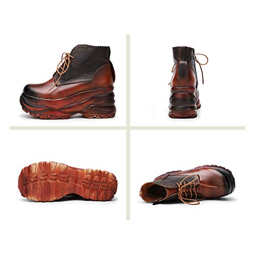 Un Para Plataforma Cuña Con Otoño Mujer Cuero Cordones Vintage Botines Comodidad Moda De Zapatos Botas Invierno Yan wqUfaAt