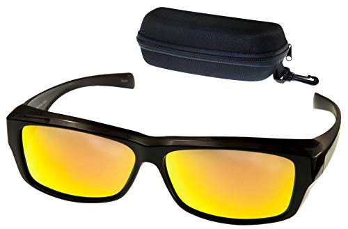 ETP Sunglasses -Polarized Fire Red Mirror Lens with Case - Black Frame - Size Small