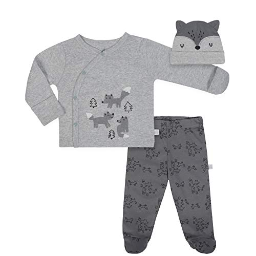 JUST BORN Baby Boys' 3-Piece Organic Take me Home Outfit, Fox, 3-6 Months -