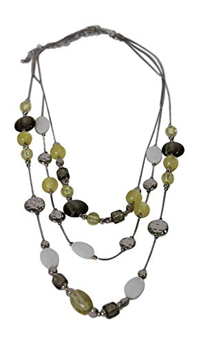 Alexander Thurlow Grey Yellow White Scatter Three Drop Necklace Pendant