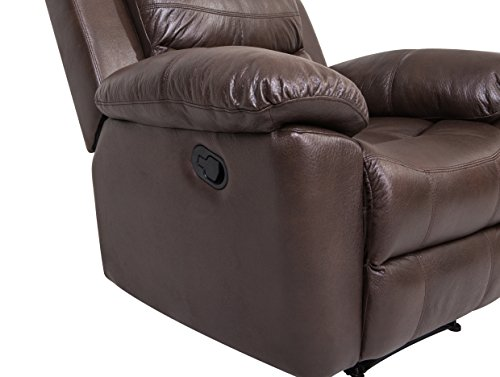 JUNTOSO 2 Sets Recliner Single Sofa And Loveseat Bonded Leather Sofa Living Room Lounge Chair Double Recliner Couch - Chocolate …