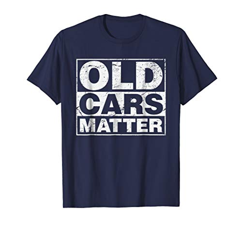Mens Old Cars Matter t-shirt for vintage automobiles & hot rods XL Navy -