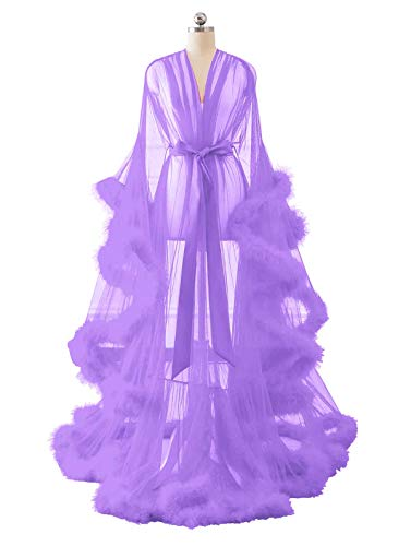 (Changuan Sexy Feather Bridal Robe Tulle Illusion Long Wedding Scarf New Custom Made Lilac XX-Large)