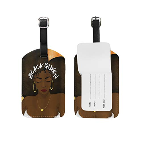 (Hip Hop Afro Hair Queen Luggage Tag Travel ID Label Leather for Baggage Suitcase Business Card Holder 1 Piece)