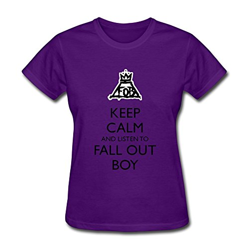 DASY Women's O Neck Fall Out Boy Logo Tees Small Purple