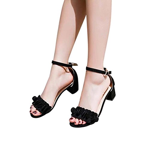 Teen Flowers Sandals,Hemlock Women Flat Sandals Wedges Sandals Open Toe Shoes Low Heels Sandals (US:5, (Black Velvet Slingbacks)
