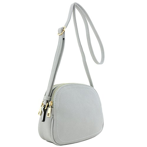 Double Zip Half Moon Crossbody Bag Light Gray by Alyssa