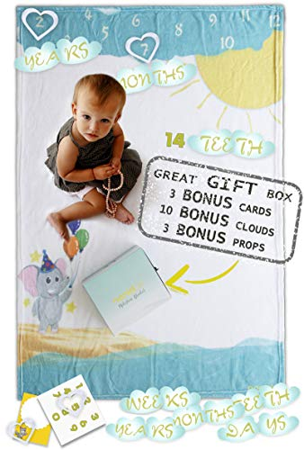 Baby Milestone Blanket Full Pack | Beautiful memories of your boy or girl | Super soft Unisex Photo Backdrop |16 Free Bonus Accessories| Unique Box for Baby Shower Gifts |