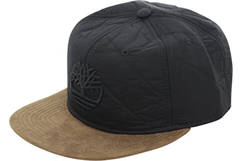 Leather Quilted Hat - Timberland Quilted Nylon Flat Brim Leather Strapback Cap (One Size, Black/Brown/Black)