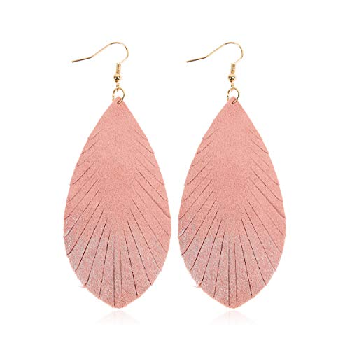 Bohemian Genuine Suede Real Leather Drop Earrings - Lightweight Feather Shape Tassel Dangles Fringe Leaf, Angel Wing (Teardrop Feather Brushstroke - Pink/Silver, 3)