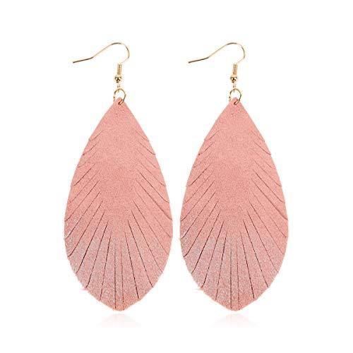 (Bohemian Genuine Suede Real Leather Drop Earrings - Lightweight Feather Shape Tassel Dangles Fringe Leaf, Angel Wing (Teardrop Feather Brushstroke - Pink/Silver, 3))