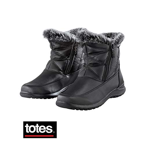 - Totes Double-Zip Boots with Faux Fur Lining - Winter Apparel Essentials, Black, 7