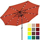 Best Choice Products 10ft Solar Powered LED Lighted Patio Umbrella w/Tilt Adjustment, Fade-Resistant Fabric, Wind Vent - Orange