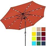 Best Choice Products 10ft Solar LED Lighted Patio Umbrella w/Tilt Adjustment, Fade-Resistant Fabric - Orange