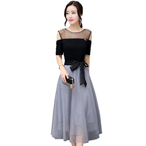夜明けに立場光沢上品 バイカラー シフォン ミモレ丈 お呼ばれ 結婚式ドレス(Black&Gray_Lサイズ)