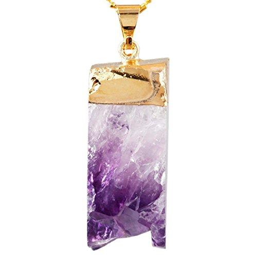 SUNYIK Natural Purple Amethyst Quartz Cluster Pendant Crystal Drusy Gemstone Healing