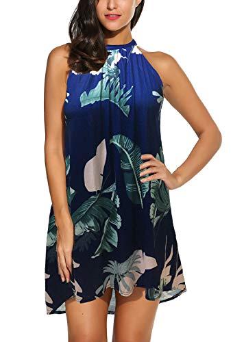 BLUETIME Women's Casual Sleeveless Halter Neck Boho Print Short Dress Sundress (XXL, Floral 2)