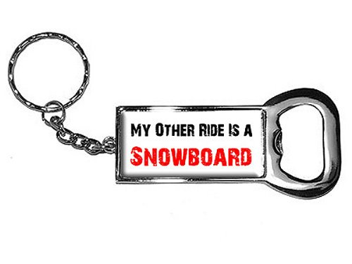 Graphics and More Ring Bottlecap Opener Key Chain, My Other Ride Vehicle Car Is A Snowboard (KK0461)