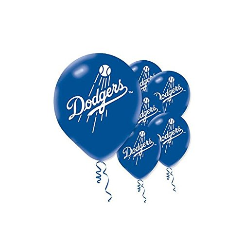 Sports and Tailgating MLB Party Los Angeles Dodgers Printed Latex Balloons Decoration, Blue, 12