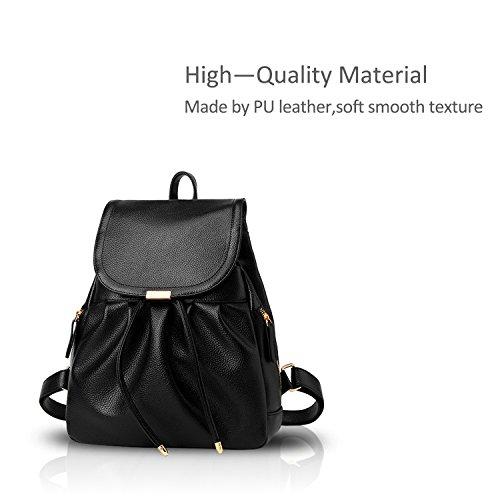Bolso de las viaje de duradero de mochila Impermeable escuela NICOLE PU Mochila la Negro moda amp;DORIS mujeres de Hombro de Blanco 8w5nx1Iq
