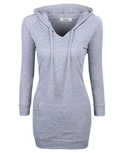 BEPEI Womens Long Sleeve Tunic Sweatshirt String Hoodie with Pocket Gray XL